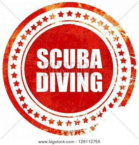 scuba diving, red grunge stamp on solid background