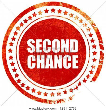 second chance, red grunge stamp on solid background