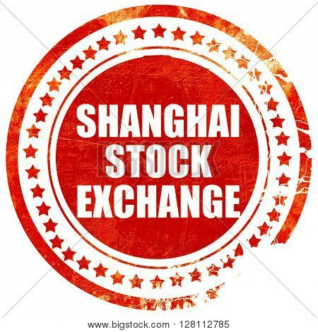 shanghai stock exchange, red grunge stamp on solid background