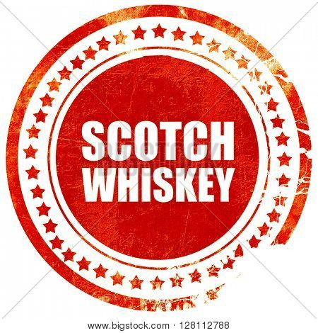 scotch whiskey, red grunge stamp on solid background