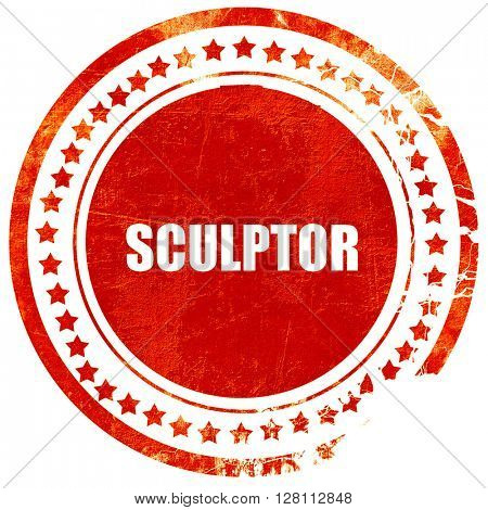sculptor, red grunge stamp on solid background