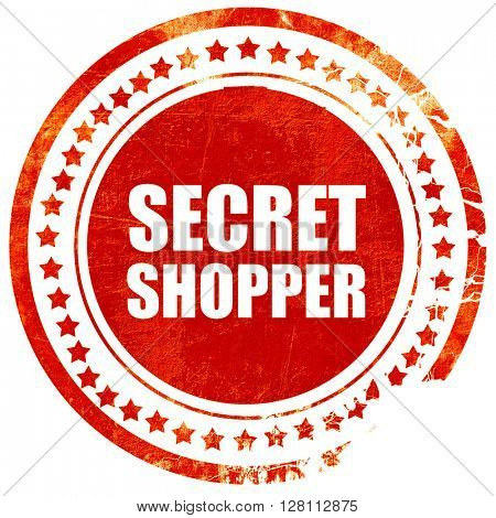 secret shopper, red grunge stamp on solid background