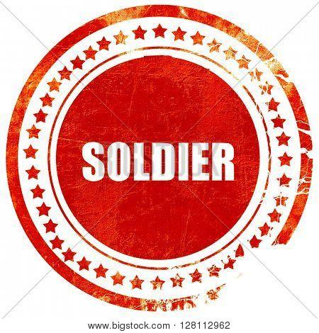 soldier, red grunge stamp on solid background