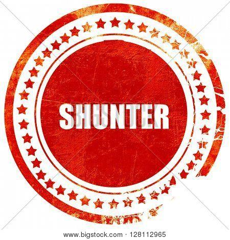 shunter, red grunge stamp on solid background