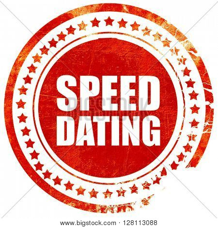 speed dating, red grunge stamp on solid background