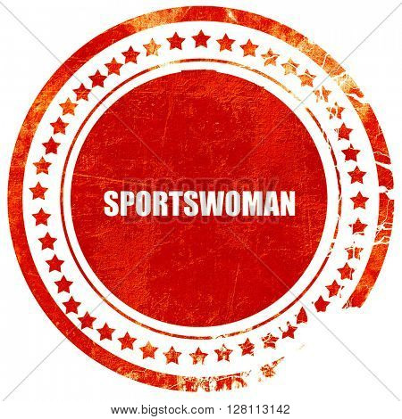 sportswoman, red grunge stamp on solid background
