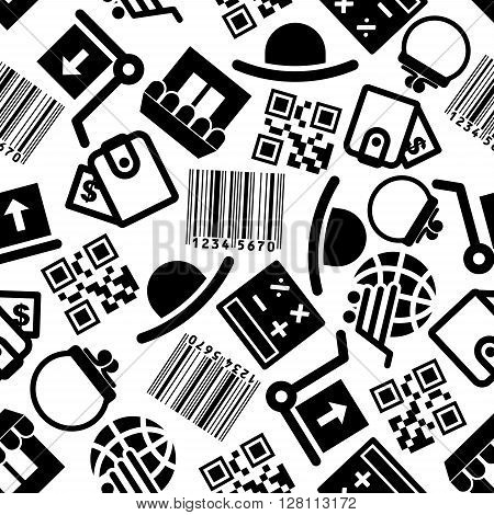 Seamless online shopping pattern with black symbols of bar and qr code, calculator, wallet, globe with cart, store, package delivery and hat over white background. Use as ecommerce, business, online shop theme design