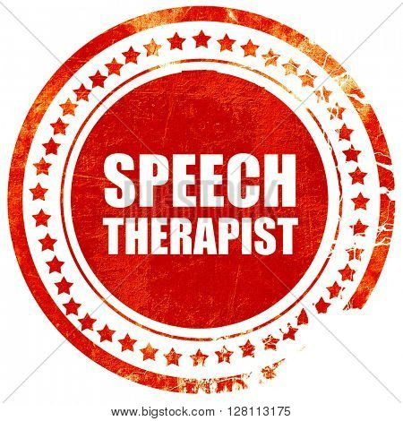 speech therapist, red grunge stamp on solid background