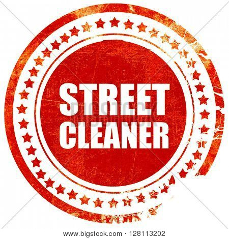 street cleaner, red grunge stamp on solid background