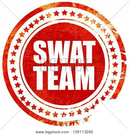 swat team, red grunge stamp on solid background