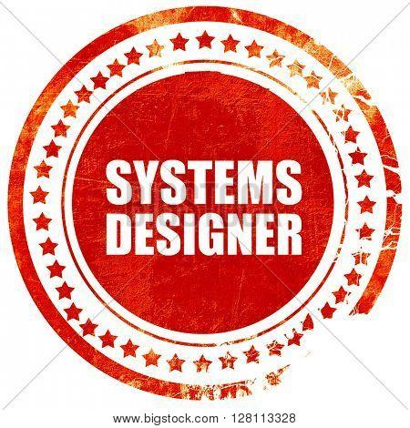 systems designer, red grunge stamp on solid background