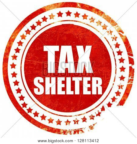 tax shelter, red grunge stamp on solid background