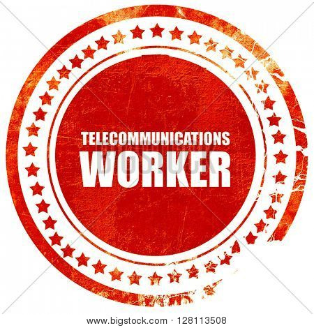 telecommunications, red grunge stamp on solid background