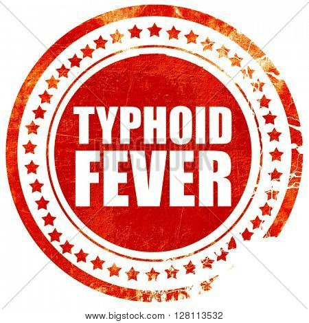 typhoid fever, red grunge stamp on solid background