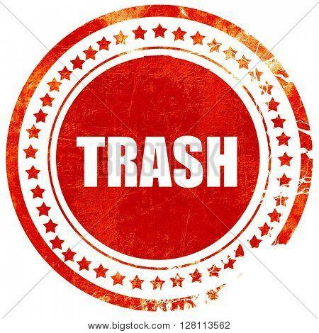 trash, red grunge stamp on solid background