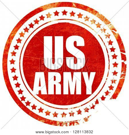 us army, red grunge stamp on solid background