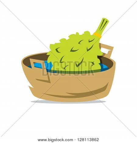 Bathroom attributes Broom and Basin Isolated on a White Background