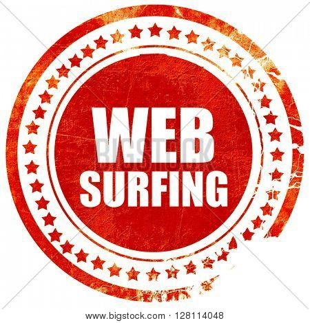 web surfing, red grunge stamp on solid background