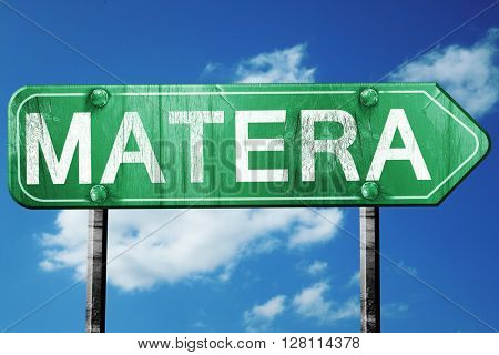 Matera road sign, 3D rendering, vintage green with clouds backgr