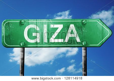 giza road sign, 3D rendering, vintage green with clouds backgrou