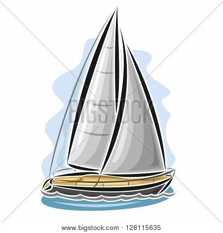 Vector logo sailing yacht, sailboat, sailer, gaff tender, gaff yawl, bermuda ketch, sloop, ship, sailing, boat, floating blue sea, ocean, waves. Cartoon sailing boat, sea regatta, yachting sport