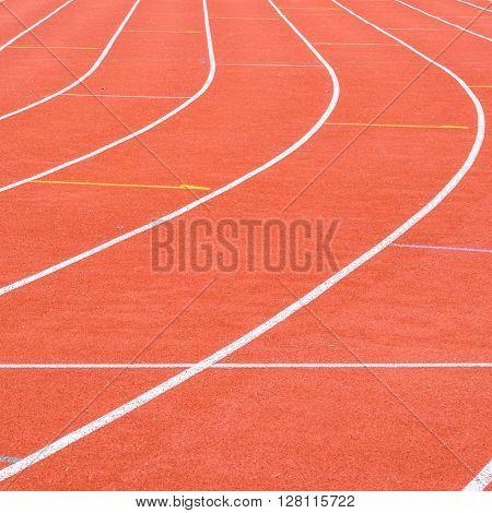 Running Track In The Stadium