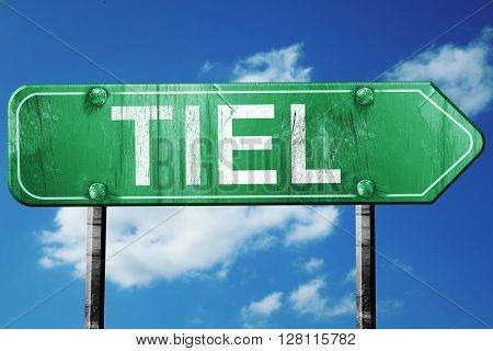 Tiel road sign, 3D rendering, vintage green with clouds backgrou