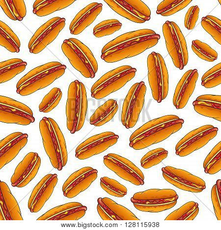 Appetizing hot dog sandwiches seamless pattern on white background with smoked frankfurters seasoned with mustard and ketchup in fresh wheat buns. Use as fast food backdrop, takeaway menu fly leaf design