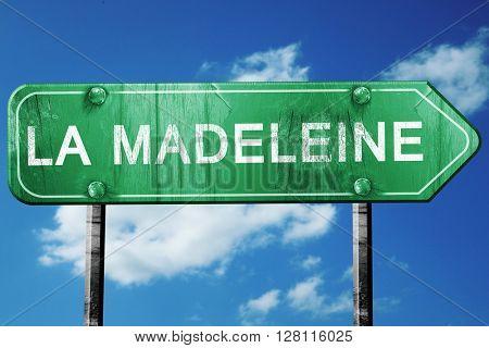 la madeleine road sign, 3D rendering, vintage green with clouds