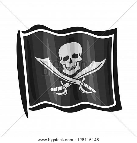 Vector illustration of logo for black cartoon pirate flag Jolly Roger, consisting of skull and pirate knife, waving in the wind, close-up on white background