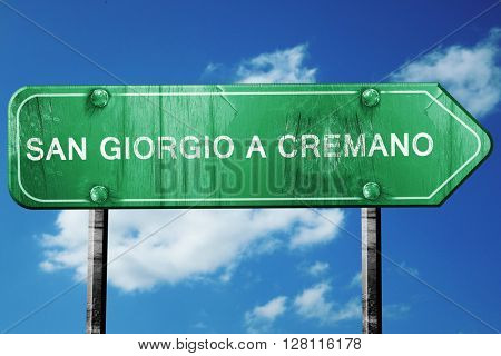 San giorgio a cremano road sign, 3D rendering, vintage green wit