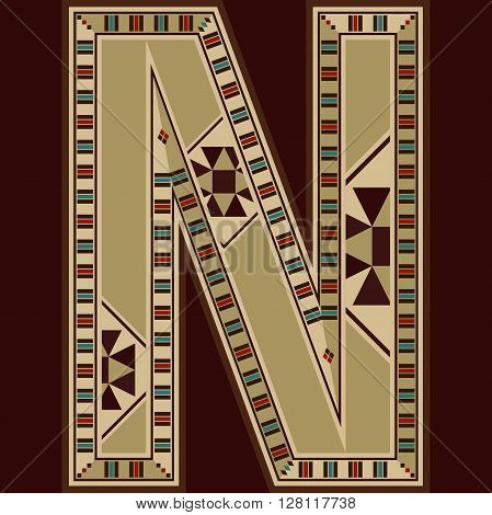 Oriental Wooden Mosaic Decorated Capital Letter N