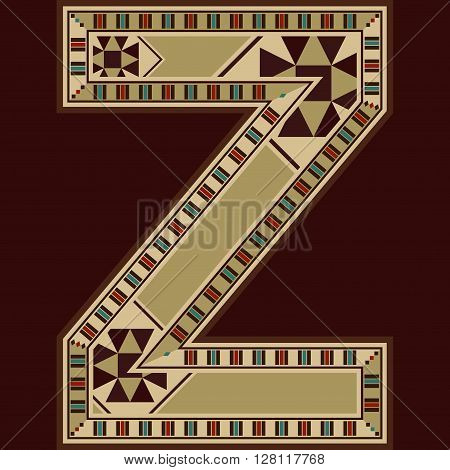 Oriental Wooden Mosaic Decorated Capital Letter Z