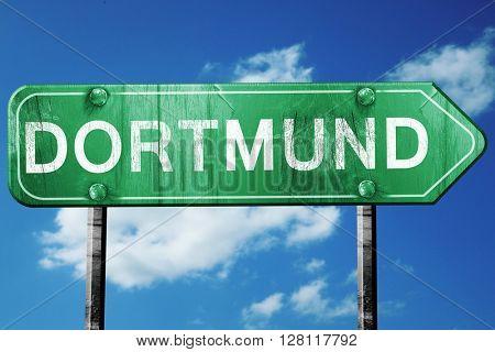Dortmund road sign, 3D rendering, vintage green with clouds back