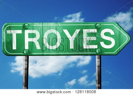 troyes road sign, 3D rendering, vintage green with clouds backgr