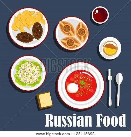 Typical russian dinner icon with flat symbols of borscht, with sour cream dressing, cutlets served with fried potatoes, potato salad olivier, baked meat pies piroshki and cup of tea with lemon