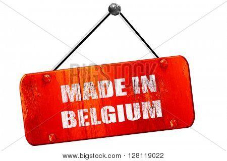 Made in belgium, 3D rendering, vintage old red sign