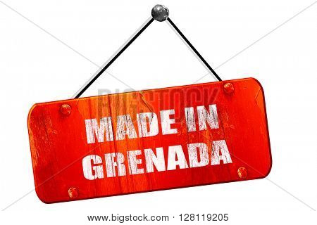 Made in grenada, 3D rendering, vintage old red sign