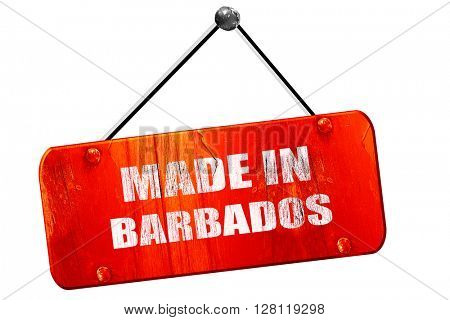 Made in barbados, 3D rendering, vintage old red sign