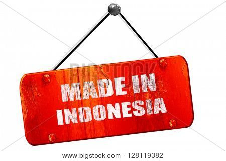 Made in indonesia, 3D rendering, vintage old red sign