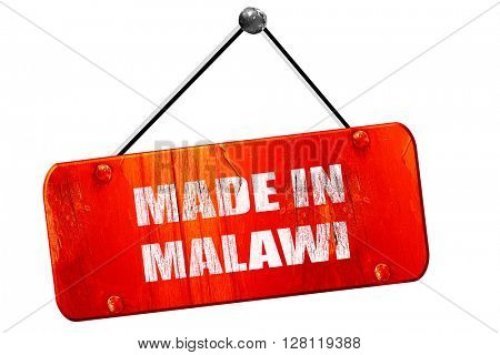 Made in malawi, 3D rendering, vintage old red sign