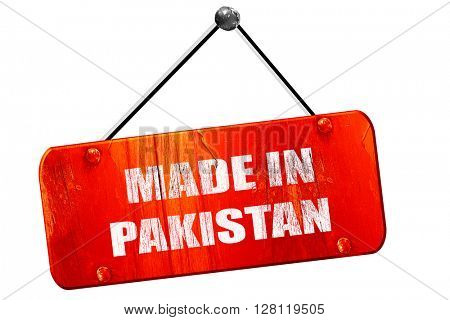 Made in pakistan, 3D rendering, vintage old red sign
