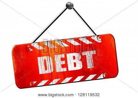 Debt sign with some smooth lines, 3D rendering, vintage old red