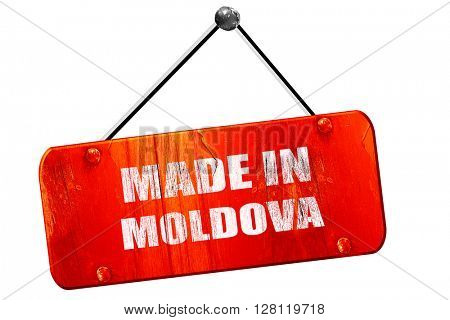 Made in moldova, 3D rendering, vintage old red sign