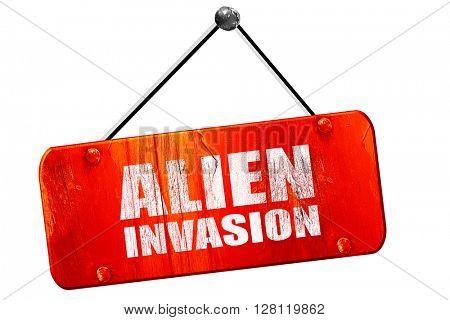 alien invasion, 3D rendering, vintage old red sign