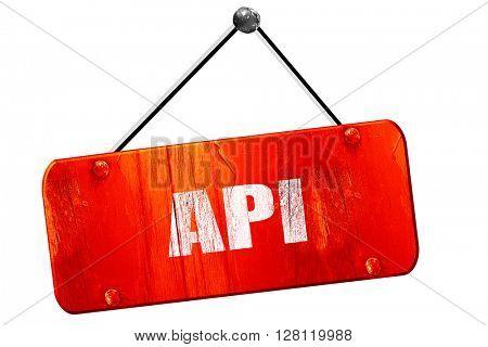 api, 3D rendering, vintage old red sign