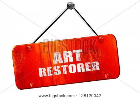 art restorer, 3D rendering, vintage old red sign