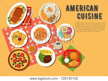 Picnic menu of american cuisine icon with cheeseburger, hot sandwiches, served with french fries and sauces, vegetarian pizza, seafood rice with chorizo, grilled beef steak, clams, corn on the cob and green beans, meat loaf with vegetable stew, donuts and