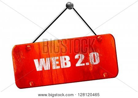 web 2.0, 3D rendering, vintage old red sign