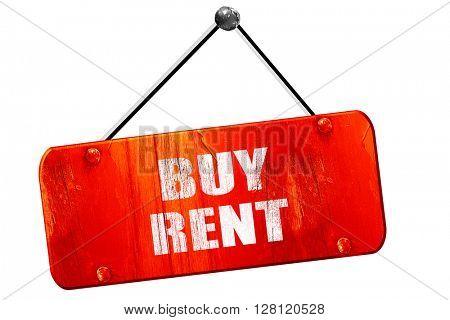 buy rent, 3D rendering, vintage old red sign